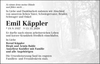 Traueranzeige von Emil Käppler von GESAMT
