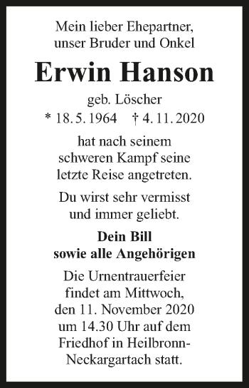 Traueranzeige von Erwin Hanson von GESAMT