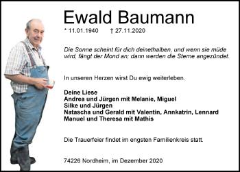 Traueranzeige von Ewald Baumann von GESAMT