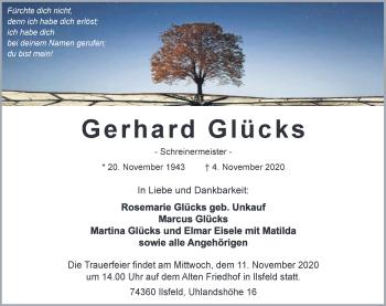 Traueranzeige von Gerhard Glücks von GESAMT