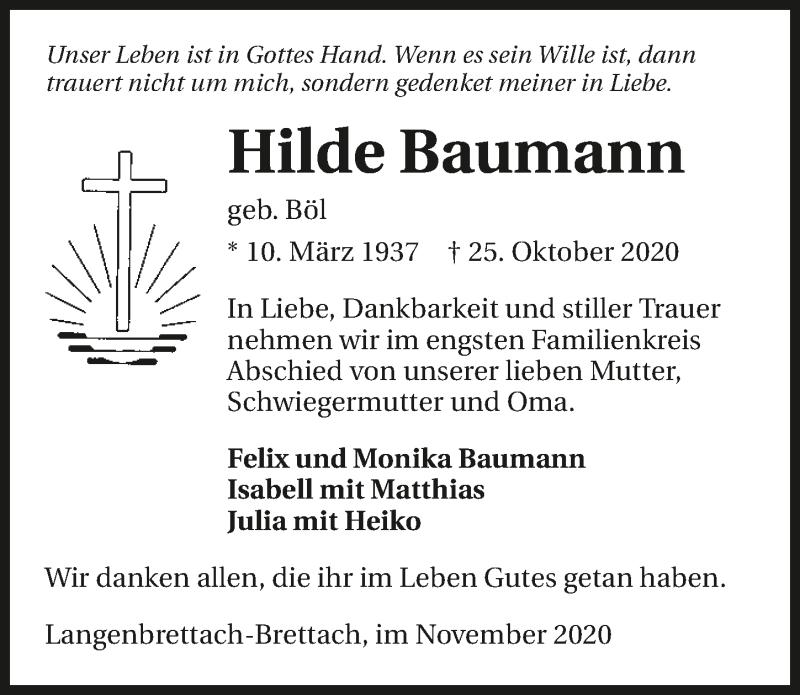 Traueranzeige für Hilde Baumann vom 07.11.2020 aus GESAMT