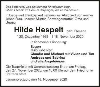 Traueranzeige von Hilde Hespelt von GESAMT