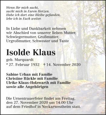 Traueranzeige von Isolde Klaus von GESAMT