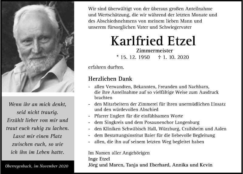 Traueranzeige für Karlfried Etzel vom 21.11.2020 aus GESAMT