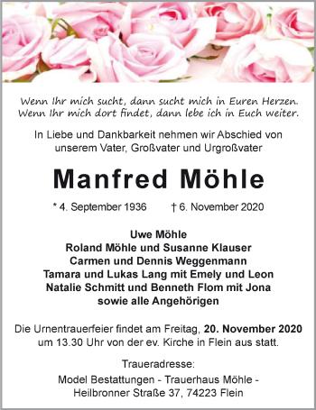 Traueranzeige von Manfred Möhle von GESAMT