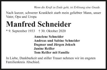Traueranzeige von Manfred Schneider von GESAMT