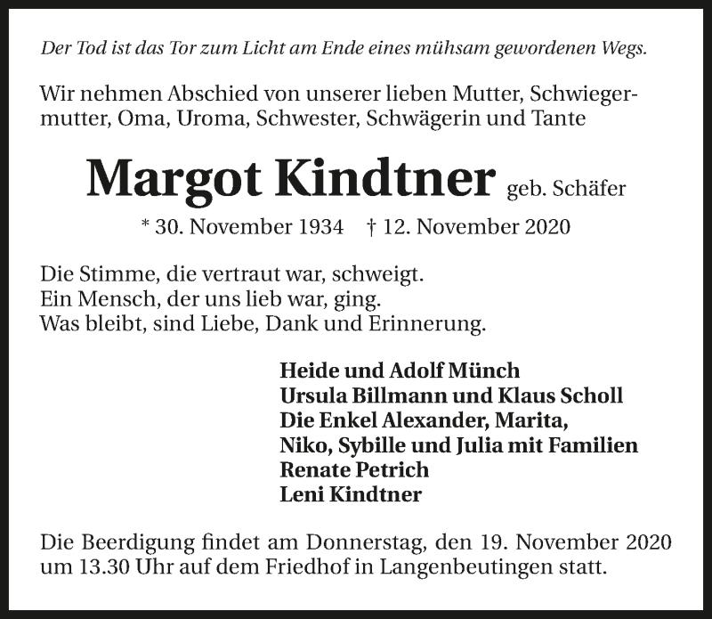 Traueranzeige für Margot Kindtner vom 17.11.2020 aus GESAMT