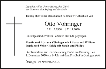 Traueranzeige von Otto Vöhringer von GESAMT