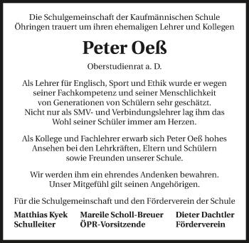 Traueranzeige von Peter Oeß von GESAMT