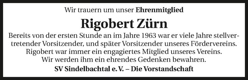 Traueranzeige für Rigobert Zürn vom 28.11.2020 aus GESAMT