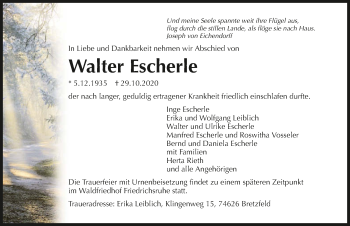 Traueranzeige von Walter Escherle von GESAMT