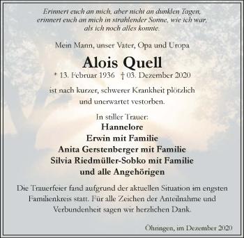 Traueranzeige von Alois Quell von GESAMT