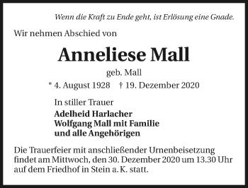 Traueranzeige von Anneliese Mall von GESAMT
