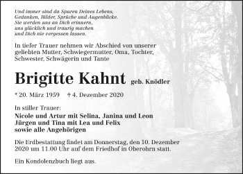 Traueranzeige von Brigitte Kahnt von GESAMT