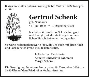 Traueranzeige von Gertrud Schenk von GESAMT