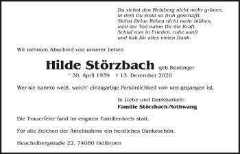 Traueranzeige von Hilde Störzbach von GESAMT