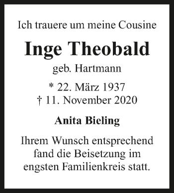 Traueranzeige von Inge Theobald von GESAMT