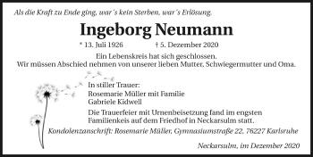 Traueranzeige von Ingeborg Neumann von GESAMT
