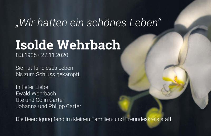 Traueranzeige für Isolde Wehrbach vom 09.12.2020 aus GESAMT