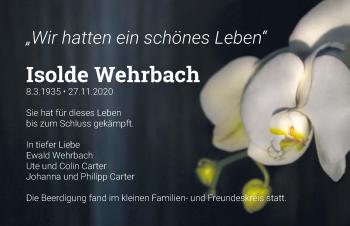 Traueranzeige von Isolde Wehrbach von GESAMT