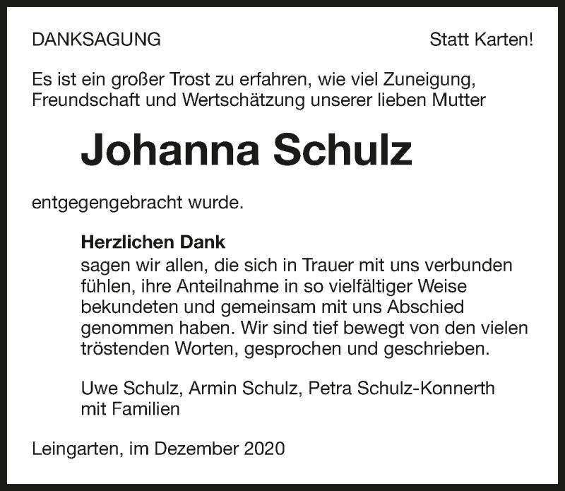 Traueranzeige für Johanna Schulz vom 19.12.2020 aus GESAMT