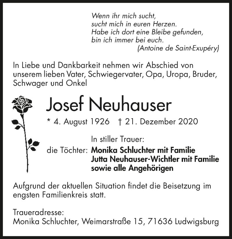Traueranzeige für Josef Neuhauser vom 28.12.2020 aus GESAMT