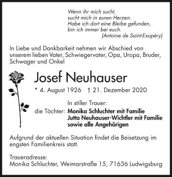 Traueranzeige von Josef Neuhauser von GESAMT