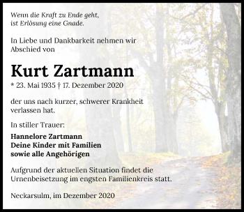 Traueranzeige von Kurt Zartmann von GESAMT