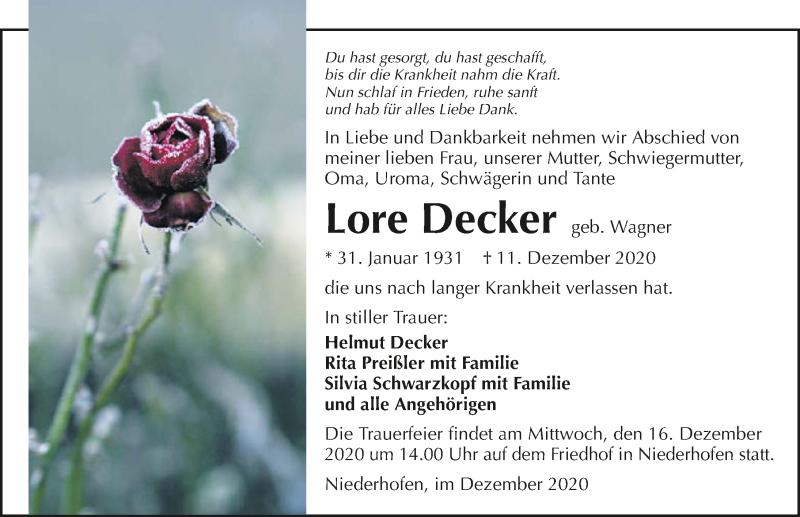 Traueranzeige für Lore Decker vom 15.12.2020 aus GESAMT