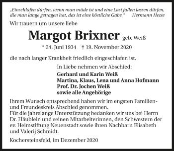Traueranzeige von Margot Brixner von GESAMT