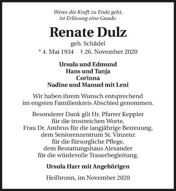 Traueranzeige von Renate Dulz von GESAMT