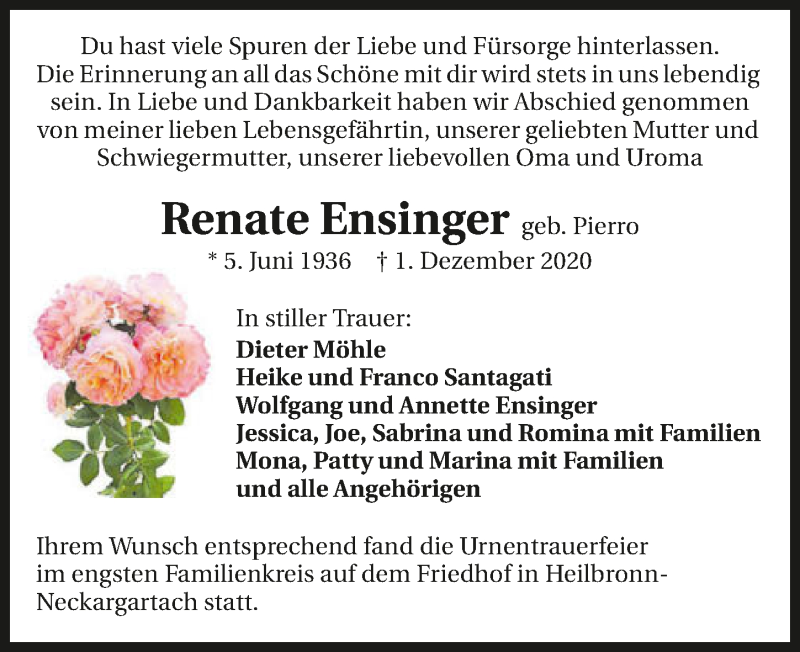 Traueranzeige für Renate Ensinger vom 12.12.2020 aus GESAMT