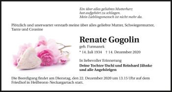 Traueranzeige von Renate Gogolin von GESAMT