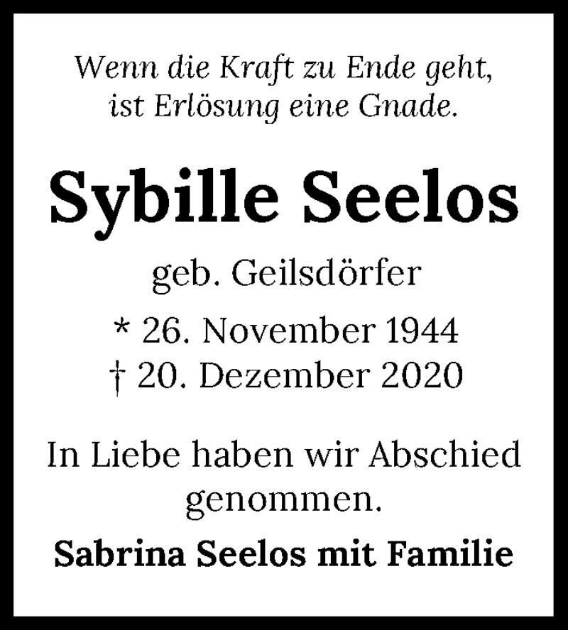 Traueranzeige für Sybille Seelos vom 30.12.2020 aus GESAMT