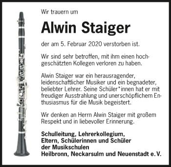 Traueranzeige von Alwin Staiger