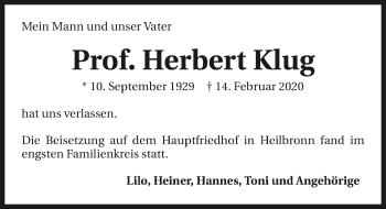 Traueranzeige von Herbert Klug