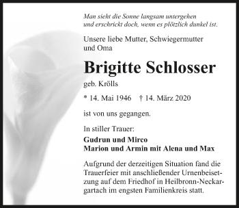 Traueranzeige von Brigitte Schlosser