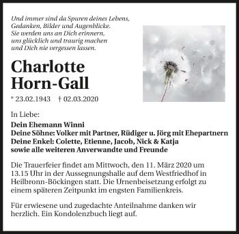 Traueranzeige von Charlotte Horn-Gall