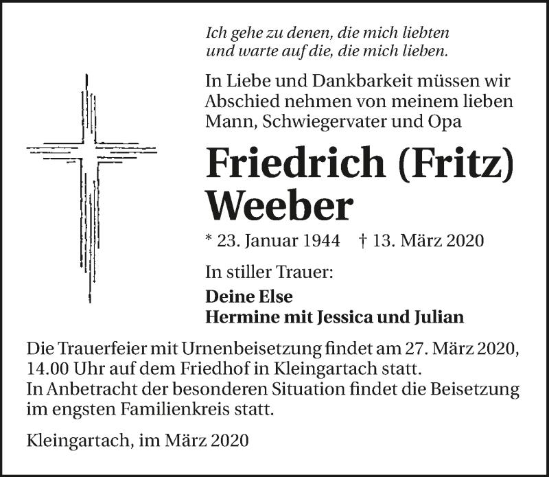 Traueranzeige für Friedrich Weeber vom 24.03.2020 aus
