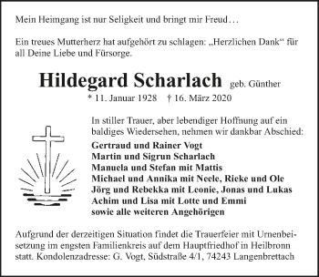 Traueranzeige von Hildegard Scharlach