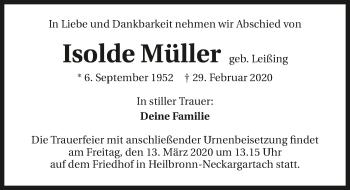 Traueranzeige von Isolde Müller