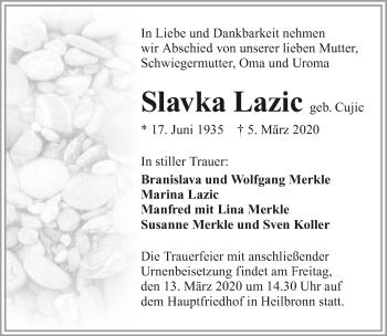 Traueranzeige von Slavka Lazic