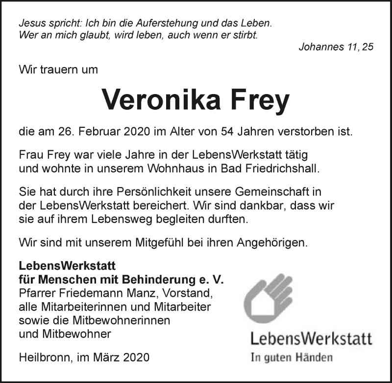 Traueranzeige für Veronika Frey vom 04.03.2020 aus