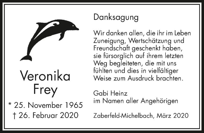 Traueranzeige für Veronika Frey vom 01.04.2020 aus