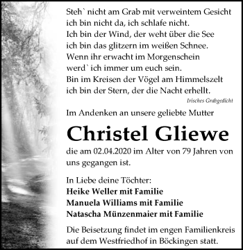 Traueranzeige von Christel Gliewe