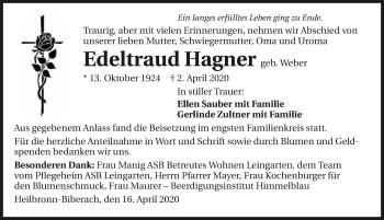 Traueranzeige von Edeltraud Hagner