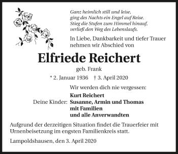 Traueranzeige von Elfriede Reichert