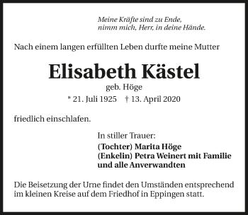 Traueranzeige von Elisabeth Kästel