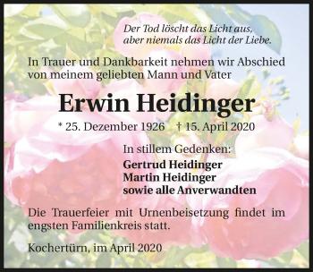 Traueranzeige von Erwin Heidinger