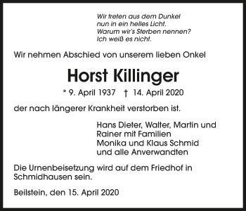Traueranzeige von Horst Killinger